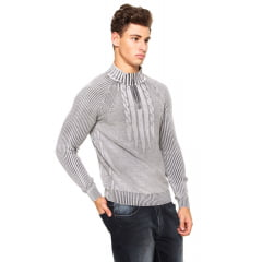 Blusa tricô meio ziper estonada 100% Algodão 7113