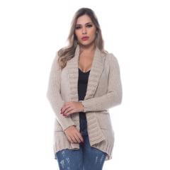 Casaco Tricô Feminino Cardigan Com Bolso 0272